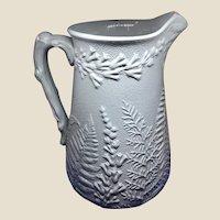 Antique English Blue Parian Salt Glaze Pitcher Wm. Brownfield