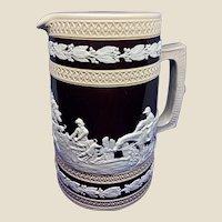 Copeland Jasperware Fox Hunt Pitcher Mid 19th Century Porcelain