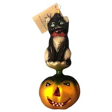 Christopher Radko Halloween Kitty Patch Ornament, Retired, Hangtag