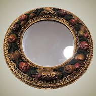 Antique Borghese Gilt Wood and Gesso Mirror with Fruit Laurel