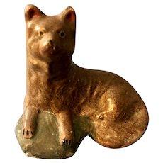 Fabulous Pennsylvania Antique Chalkware Dog Figure 19th Century Folk Art Rare