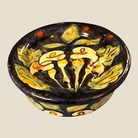 Antique two piece round Folk Art Pottery Soap Dish