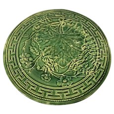 Antique 19th century French Majolica Green Leaf and Greek Key Plate