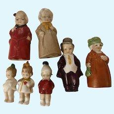 """Three Precious 1930s German Bisque Frozen Charlotte-type Dolls Children 1 5/8"""""""