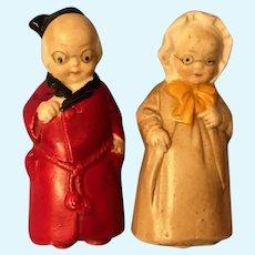 Antique Hertwig Bisque Grandma and Grandpa Miniature Penny Dolls