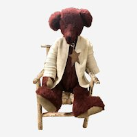 Sweetest Vintage German Style Teddy Bear with Hump, in old Adirondack Twig Chair