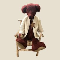 Vintage German Style Teddy Bear in old Adirondack Twig Chair