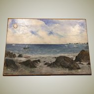 Original Naive Folk Art Oil on Wood Board Seascape New England Scene