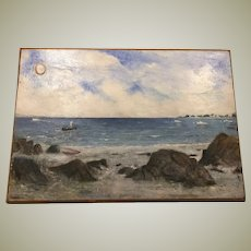 Original Naive Folk Art Oil on Wood Board Seascape New England Scene