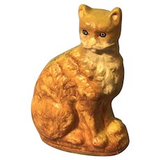 Rare Vaillancourt Tabby Cat Folk Art Figure Tabby