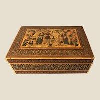 Antique Anglo-Indian Persian Kharam Kari Inlaid Trinket Jewelry Treasures Box