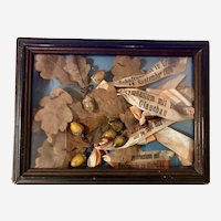 Amazing German School Gymnasium Ribbons & Oak Leaves Acorns Shadowbox 1926