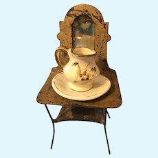 Antique German Dollhouse Tin Washstand Mirror Bowl Pitcher