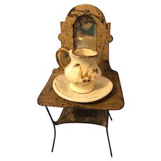 Antique German Dollhouse Tin Washstand Mirror Bowl Pitcher
