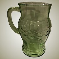 Gorgeous Vintage Optic Criss-Cross Green Depression Glass Pitcher Hocking