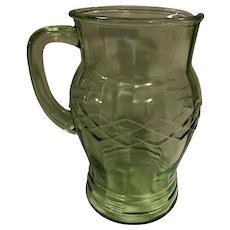 Gorgeous Vintage Optic Criss-Cross Green Depression Glass Pitcher Hocking