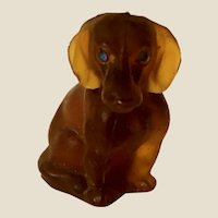 "Vintage Czech Glass Amber Dachshund Dog 1 1/2"""