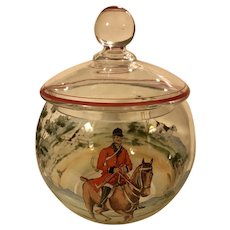Vintage Hand Painted Moser Czech Glass Biscuit Jar Fox Hunt Scene