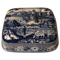 """Antique Blue Transferware """"Waterfall"""" Pastoral Cows Platter Cover 8"""""""