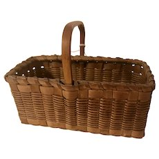 Antique New England Miniature Splint Wood Woven Oblong Herb Basket