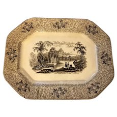 Early Transferware Platter Corinth Pattern James Edwards 1850s