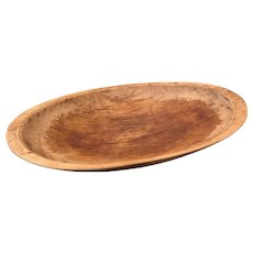 Fabulous Authentic Antique New England Oval Dough Bowl Trencher with Hand Holds