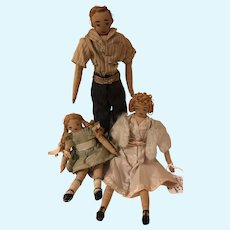 1940s Handmade 3 Piece Doll Family Embroidered Rag Dolls