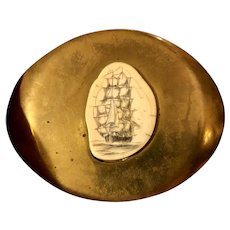 Handsome Vintage Heavy Solid Brass & Scrimshaw Tall Ship Belt Buckle