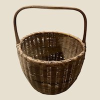 Antique New England Native American or Shaker Splint Woven Basket Stripe