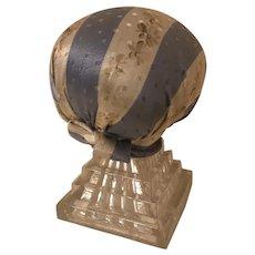 Antique Victorian Make Do Glass & Silk Pedestal Pincushion