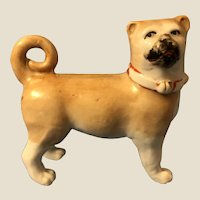 Antique Victorian Porcelain Pug Dog Puppy Figure Standing German Porcelain