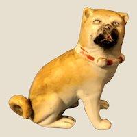 Antique Victorian Bisque Pug Dog Figure Seated