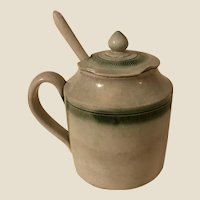 Antique Late 18th c Leeds Mustard Pot Green Feather Edge