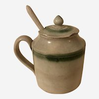 Rare Antique Late 18th c Leeds Mustard Pot Green Feather Edge English Pottery