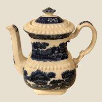 Antique Copeland Blue Spode's Tower Transferware Coffee Pot