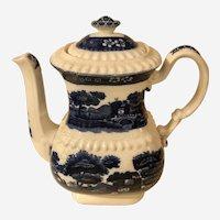 Handsome Antique Copeland Blue Spode's Tower Transferware Coffee Pot Blue & White Pottery