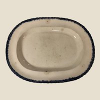 """Antique Early 19th Century Leeds Feather Edge Serving Platter 15.5"""" Ironstone"""