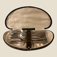 Antique Edwardian Era Silver Plate Pastry Forks in Leather Fitted Case