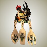 Vintage MIJ Kitchen Ceramic Rooster Plaque with Utensils