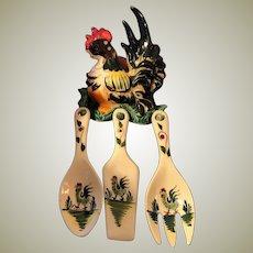 Vintage MIJ Kitchen Ceramic Rooster Plaque with Utensils