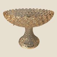 Antique EAPG Challinor Taylor & Co. Open Work Basketweave Glass Compote Pedestal Basket