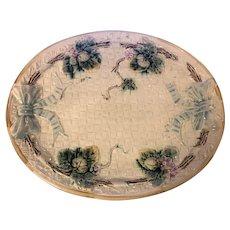 Antique Majolica Basketweave Platter Leaves Strawberries & Bows