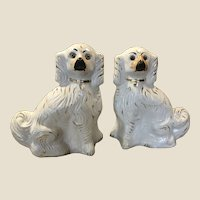 Pair Large Antique Staffordshire Spaniels Mantle Dogs Glass Eyes