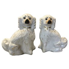 Pair Large Staffordshire Spaniels Mantle Dogs Glass Eyes