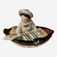 Antique Fairing Trinket Box Child in Rowboat German Staffordshire Porcelain