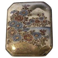 Antique Japanese Satsuma Porcelain and Silver Dress Belt Buckle