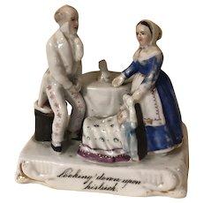 Antique English Fairing Figurine Man Woman Twin Babies German Porcelain