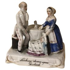 Antique Fairing Figurine Man Woman Twins German Porcelain