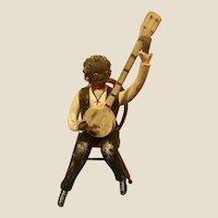Folk Art Carved Black Americana Banjo Player Bill Jauquet Wisc