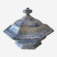 Antique Transferware Clementson Blue Udina Footed Serving Dish with Cover Staffordshire 1840s